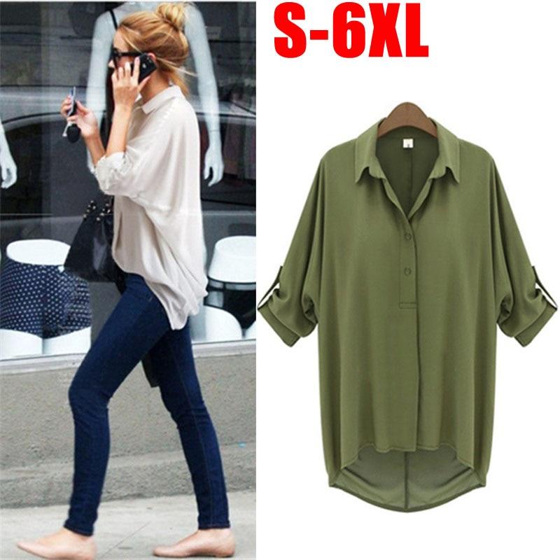 d90bbdbf372 Plus Size S-6XL Womens Loose Long Sleeve Irregular Top Button T-Shirt Blouse