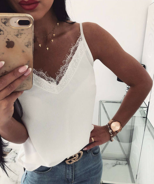 Summer Women Satin Silk Lace Tank Tops Vest Blouse Female Casual Crop Camisole Top Sexy Lace Solid Backless Vest