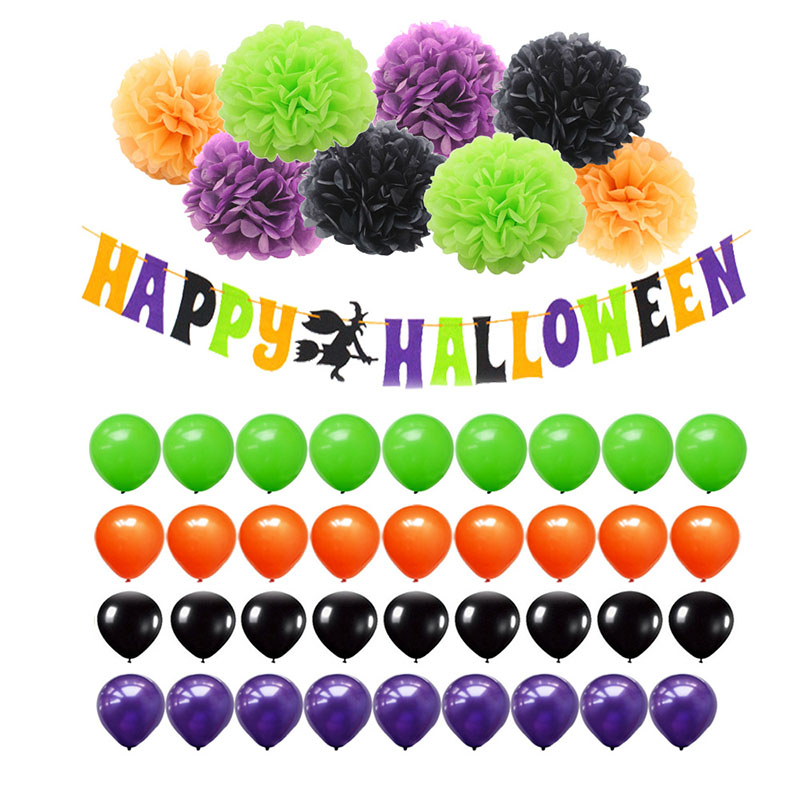 diy halloween decorations paper pom poms latex balloons happy halloween banner set party supplies house kindergarten decor - Halloween Supplies