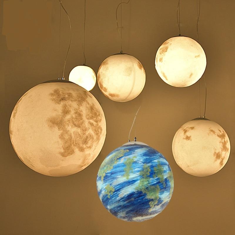 Moderne lune planète boule ronde pendentif lumière planétaire univers terre lobbycreative modèle chambre café pendentif lampes Z19636