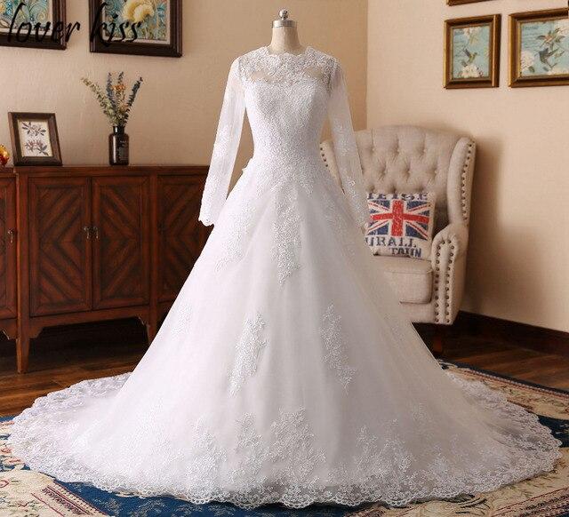 Lover Kiss Vestido De Noiva Modest O Neck Lace Muslim Wedding ...