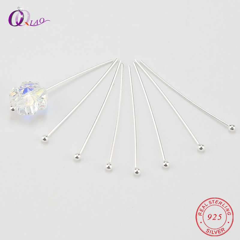 25mm 925 Sterling Silver Ball Head Pins Diy Jewelry Findings Earring Making Beads Connector Jewelry Making Head Pins 10pcs/pack