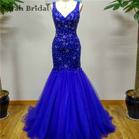 Sexy Royal Blue Criss Cross Mermaid Evening Dress 2016 Crystal Bead Sequin Long Formal Dress Party