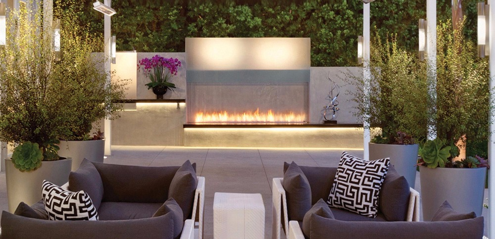 36 Inch Smart Remote Control Ethanol Black  Or Silver Stone Electric Outside Fireplace