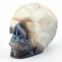 Жизнь Размеры 6 ''реальное Исцеление полосатый агат Geode Кристалл череп гравированных камней резной череп скульптура для домашнего декора