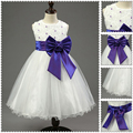Girls White Lace Princess Dresses with Colorful Big Bow&Flowers Kids Sleeveless Flower Girls Dresses Summer Children's Clothing