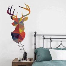 3D geometryczny kształt naklejka ścienna zwierzęta wilk deer niedźwiedź tło dla dekoracja domu mural naklejki ozdobne naklejki na ścianę