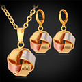 U7 Dubai Jewelry Sets For Women Accessories Three Tone Yellow Gold/Rose Gold Plated Earrings Necklace Set S154