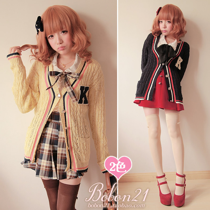 Princess sweet lolita sweater Bobon21 spring new arrival preppy style small k twist knitted stripe cardigan