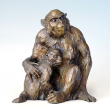 ATLIE BRONZES Statues Bronze monkeys female monkey with her child figurines  home decoration birthday gifts