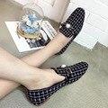 2016 Nueva Llegada Zapatos de Mujer Classic Negro Blanco Plaid Flat Zapatos Chaussure Femme Zapatos De Marca para Las Mujeres