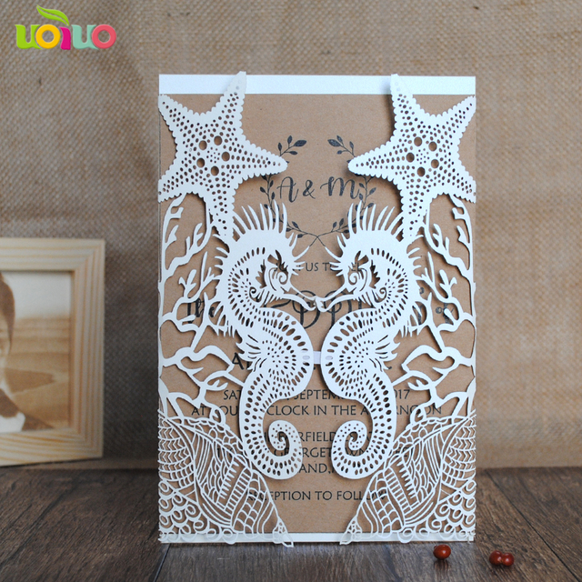 beach wedding invitation cards seahorse and shell paper