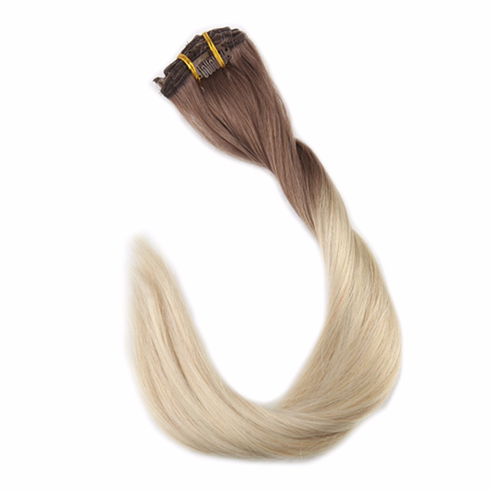 Full Shine 100% Remy Human Hair Balayage Hair Clip In Extensions 7Pcs 50g Ombre Color 6B Fading To 613 Blonde Clip In Extension