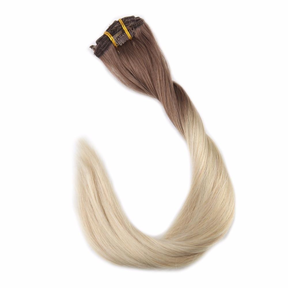 Pleine brillance 100% Remy cheveux humains Balayage pince à cheveux dans les Extensions 7 pièces 50g Ombre couleur # 6B décoloration à 613 Blonde Clip dans l'extension