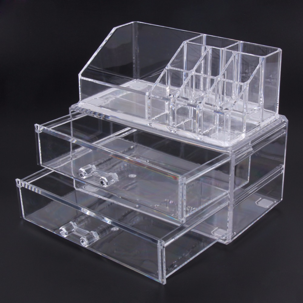 Desk Makeup Organizer Desk Transparent Acrylic Cosmetic Case Storage Drawer Insert Jewelry Box Holder FULI