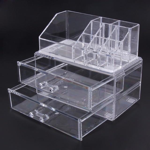 Transparent Desk Makeup Organizer Acrylic Cosmetic Storage Case Two
