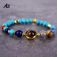 Asingeloo 7 Chakra Healing Balance Supernatural Turquoise Tiger Eye Stones Beads Solar System Bracelet Women Jewelry