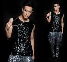 Silver sequins spherical collar Singer stage black males's vest males pullover model roupas masculinas attractive tank prime camisetas regatas
