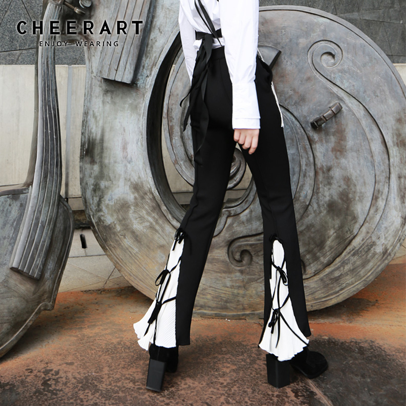 Cheerart Gothic Flared Pants Women Black And White High Waist Trousers Ladies Bandage Bell Bottom Pants Gothic Clothing