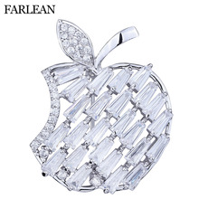FARLENA Jewelry Cute apple Brooch Inlay with Zirconia Cubic Fashion CZ Crystal Brooches for Women