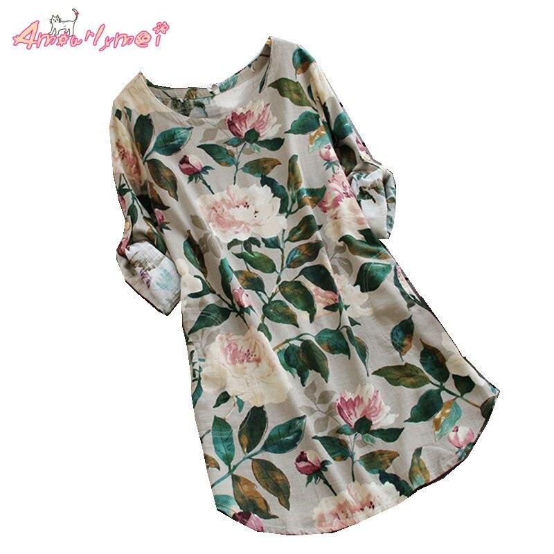 Amourlymei Green Leaves Peony Flower print Long Sleeve O-Neck Cotton Linen Loose Casual Shirt Women Blouse Tops Mori Girl