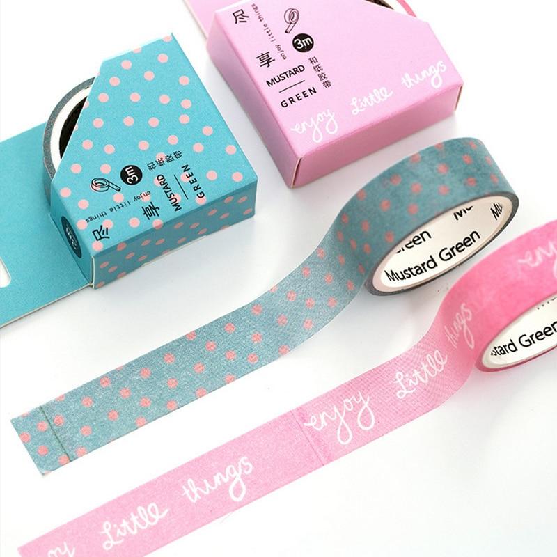 Korting 37% Korting 2 Pcs lot 1.5cm*3m Enjoy washi tape DIY decoration scrapbooking planner masking