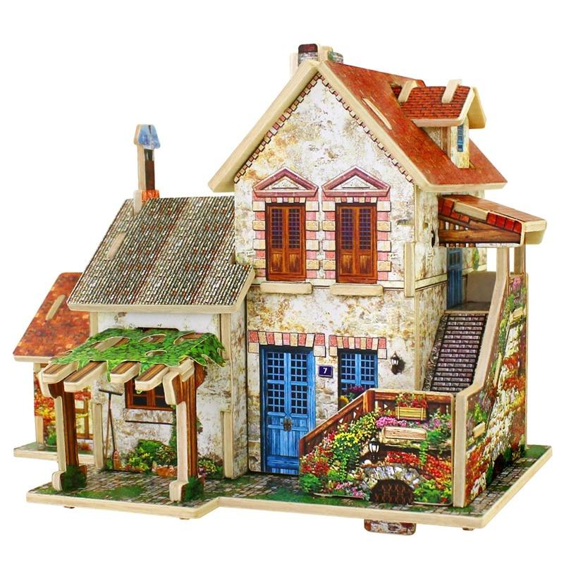 robotime 3d wooden puzzles france farm cafe flower store. Black Bedroom Furniture Sets. Home Design Ideas
