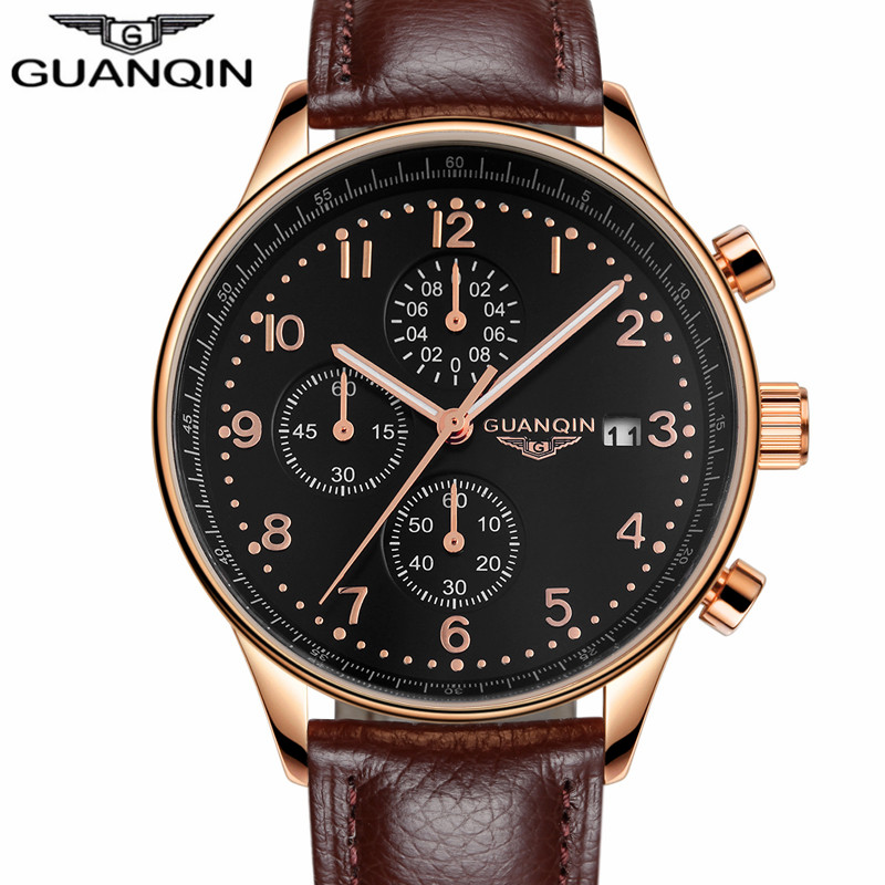 ФОТО GUANQIN Top Brand Quartz Chronograph 30M Life Waterproof Fashion Luxury Leather Watches Band Auto Date Men Wristwatches