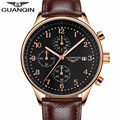 GUANQIN Top Brand Quartz Chronograph 30M Life Waterproof Fashion Luxury Leather Watches Band Auto Date Men Wristwatches
