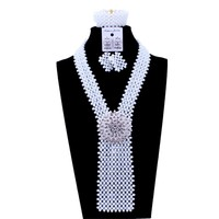 Splendid African Beads Necklace Jewelry Set White With Pin Y Jewellery Sets For Women African Nigerian Jewelry Set Free Shipping