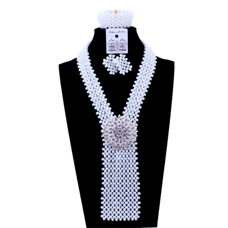 Splendide collier de perles africaines ensemble de bijoux blanc avec broche Y ensembles de bijoux pour les femmes ensemble de bijoux nigérians africains livraison gratuite