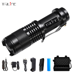 10000 Lums linterna LED L2/T6 5 modos de Zoom lámpara de antorcha impermeable + 18650 batería + AC/auto cargador + cargador USB + funda + caja de regalo