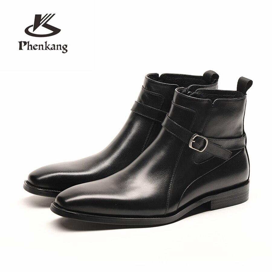 ผู้ชายฤดูหนาวรองเท้าหนังวัวแท้รองเท้าเชลซี brogue casual ข้อเท้าแบนรองเท้าสบายนุ่มสีดำสีน้ำตาล 2019-ใน รองเท้าบูทแบบเบสิก จาก รองเท้า บน   1