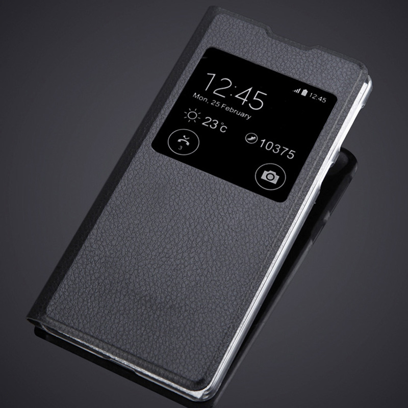 PU Mobile Covers Luxury Flip Cases with Big Single Window Fo