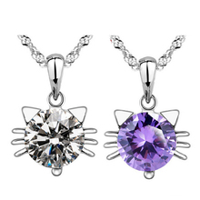 Silver Plated Cat Pendant Necklace white purple crystal cute fashion jewelry for women E5437a