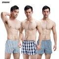 3 unids/lote underwear men boxer shorts plaid patrón underwear boxeadores de alta calidad de los hombres de algodón sexy men boxer shorts