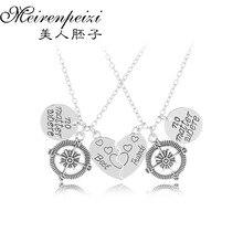 2Pc BFF no matterwhere best friends Charm Pendant Necklaces Compass Broken Heart Puzzle Best Friends Friendship Gift