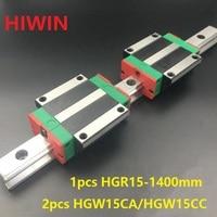 1 шт. 100% Оригинал Hiwin Линейные направляющей HGR15 L 1400 мм + 2 шт. HGW15CA HGW15CC линейных фланцевые каретки блока для ЧПУ
