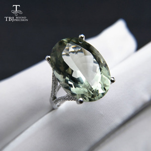 Image 4 - גדול ירוק אמטיסט טבעת טבעי חן טבעת 925 כסף סטרלינג תכשיטים עבור בנות נחמד שחור שישי & חג המולד מתנה