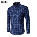 MarKyi 2016 новый хлопок плед рубашки мужской моды весна длинным рукавом случайные мужские рубашки плюс размер 3xl
