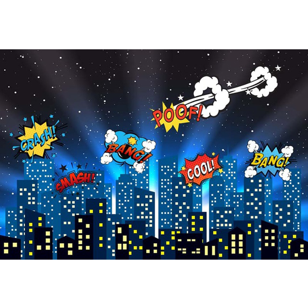 Kids Birthday Party Photography Backdrops Super Heroes Night Sky Glitter Stars City Buildings Baby Cartoon Photo Background