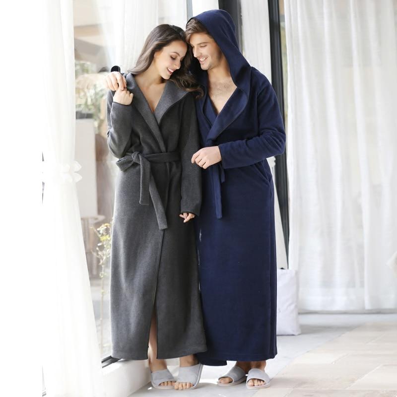 European Male Microfiber Fleece Hooded Long Bathrobe Female String Long Sleeve Robes Autumn Winter Plus Size Bath Robe