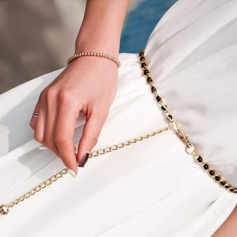 Waistband-Strap Dress-Accessories Waist-Chain-Belt Thin Women Fashion 3-Colors Imitation-Pearl-Beads title=