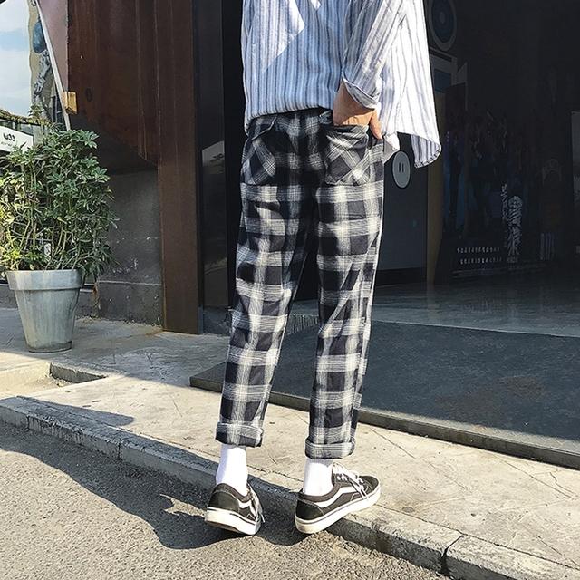 Women Harajuku Plaid Striped Harem Pants Elastic Waist Bf Style Girls Plus Size Loose Casual Trousers Pantalones