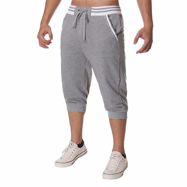 2017 Verão Homens Calça Casual Calças Slim Corredores Homens Pantalon Homme Roupas Bezerro Sólida-Comprimento Calças Calças de Design Quente