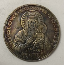 1928 Poland 5 Zlotych Black Madonna of Czestochowa; Private lssue Re-strike Pt(China)