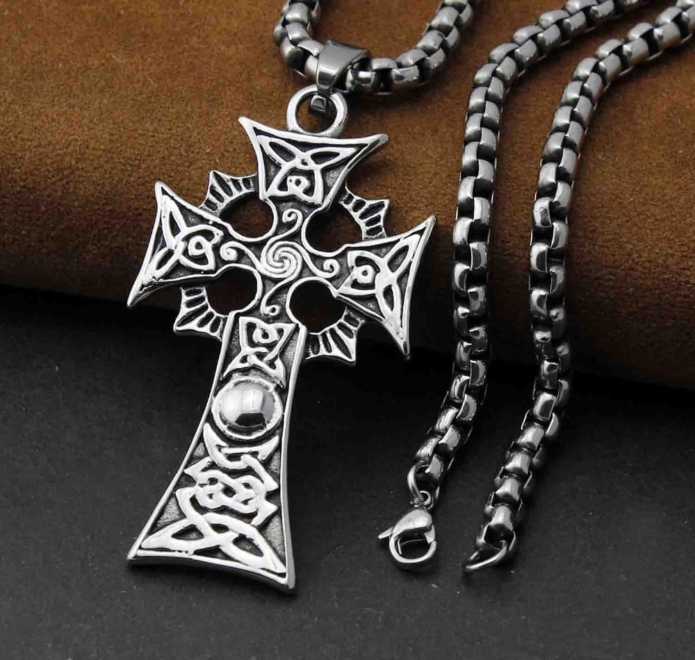 men 316l stainless steel cool vintage celtic cross pendant. Black Bedroom Furniture Sets. Home Design Ideas