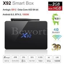 X92 TV Box Android 6.0 2 GB 16 GB Amlogic S912 Octa Core Inteligente Mini PC 4 K 3D KODI Reproductor Multimedia con Transmisión Bluetooth PK T95X X96 M8S
