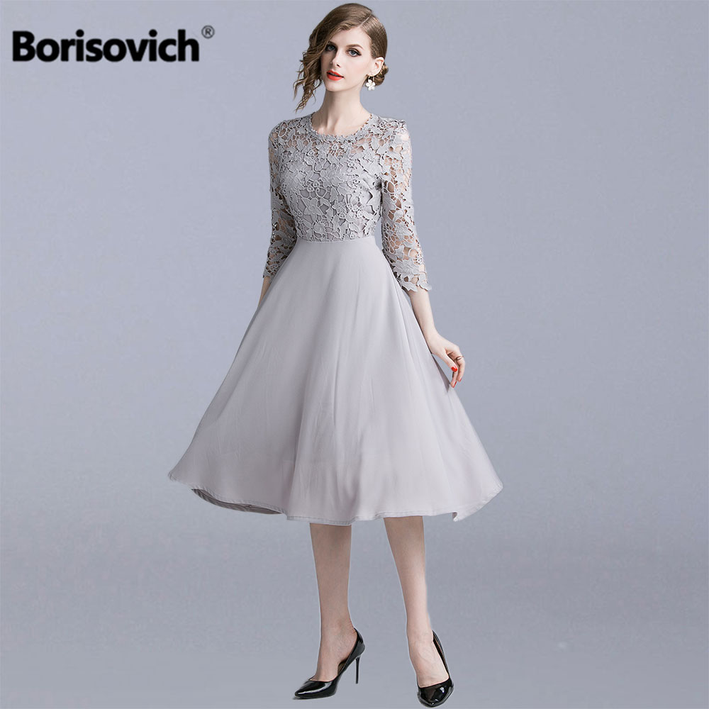 Borisovich Women Summer Party Dresses New Brand 2019 Fashion Patchwork Hollow Out Lace Female Elegant A-line Long Dress N1273