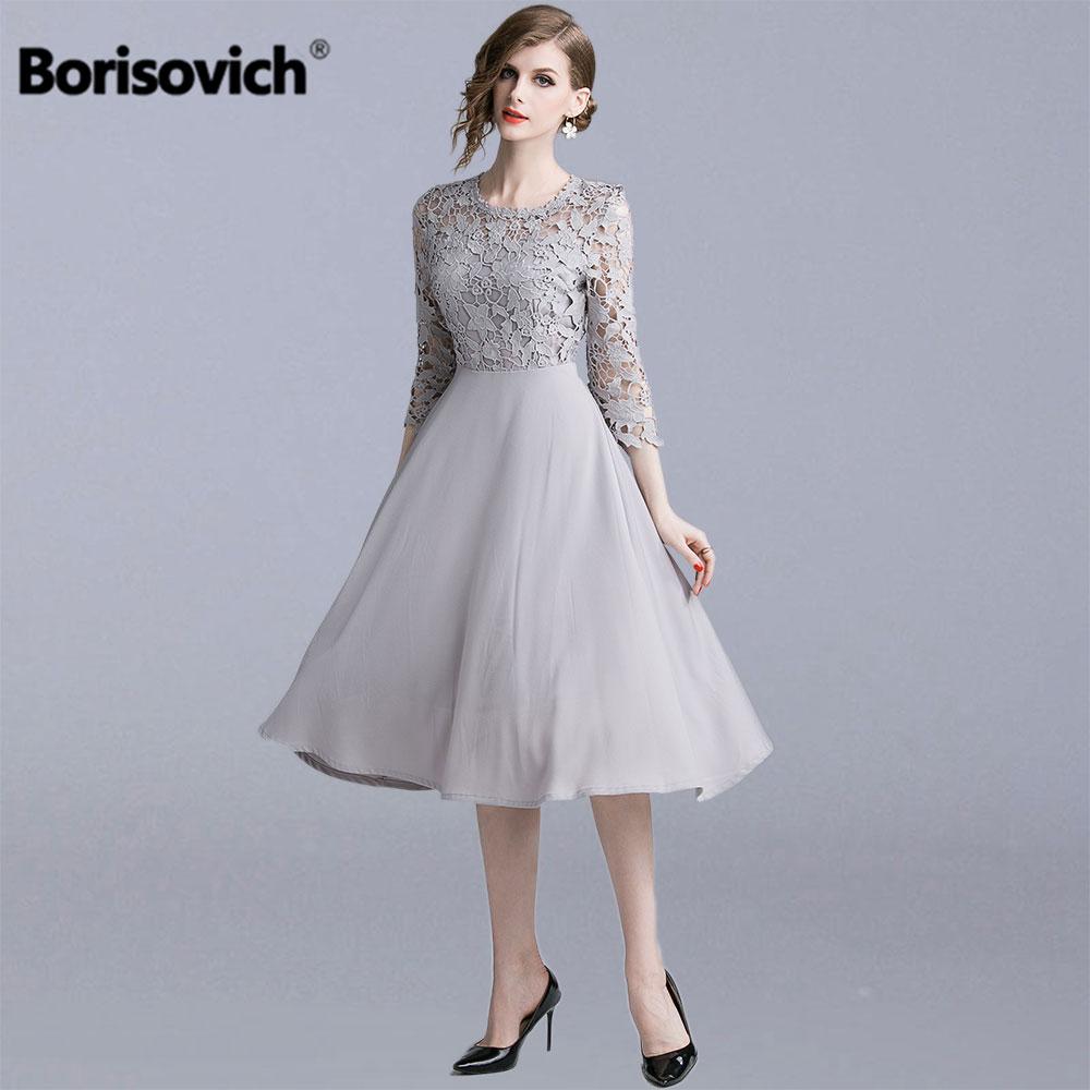 Borisovich femmes robes de fête d'été nouvelle marque 2019 mode Patchwork évider dentelle femme élégante a-ligne longue robe N1273